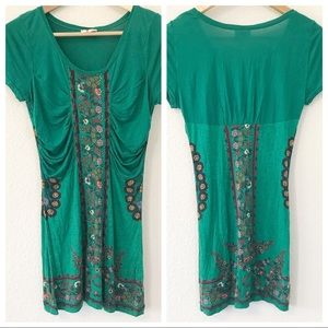 Free people beaded green tunic sz Medium